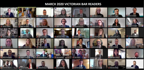 The Victorian Bar's Readers attending their graduation ceremony via Zoom